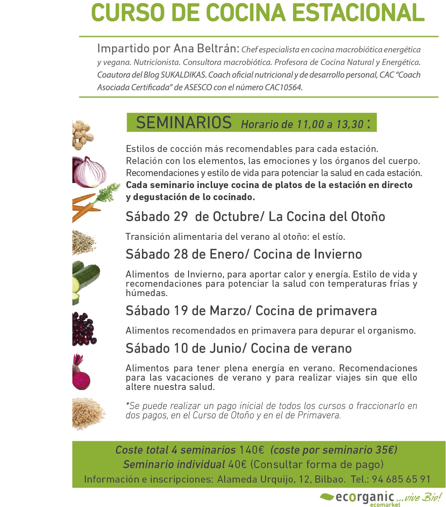 Bilbao taller de ayurveda ecorganic - Cursos de cocina bilbao ...
