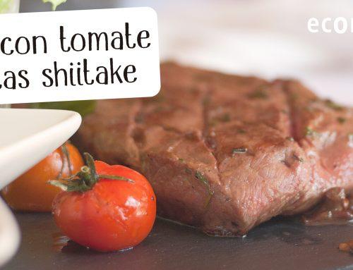 Filete de primera extra con setas shiitake y tomates